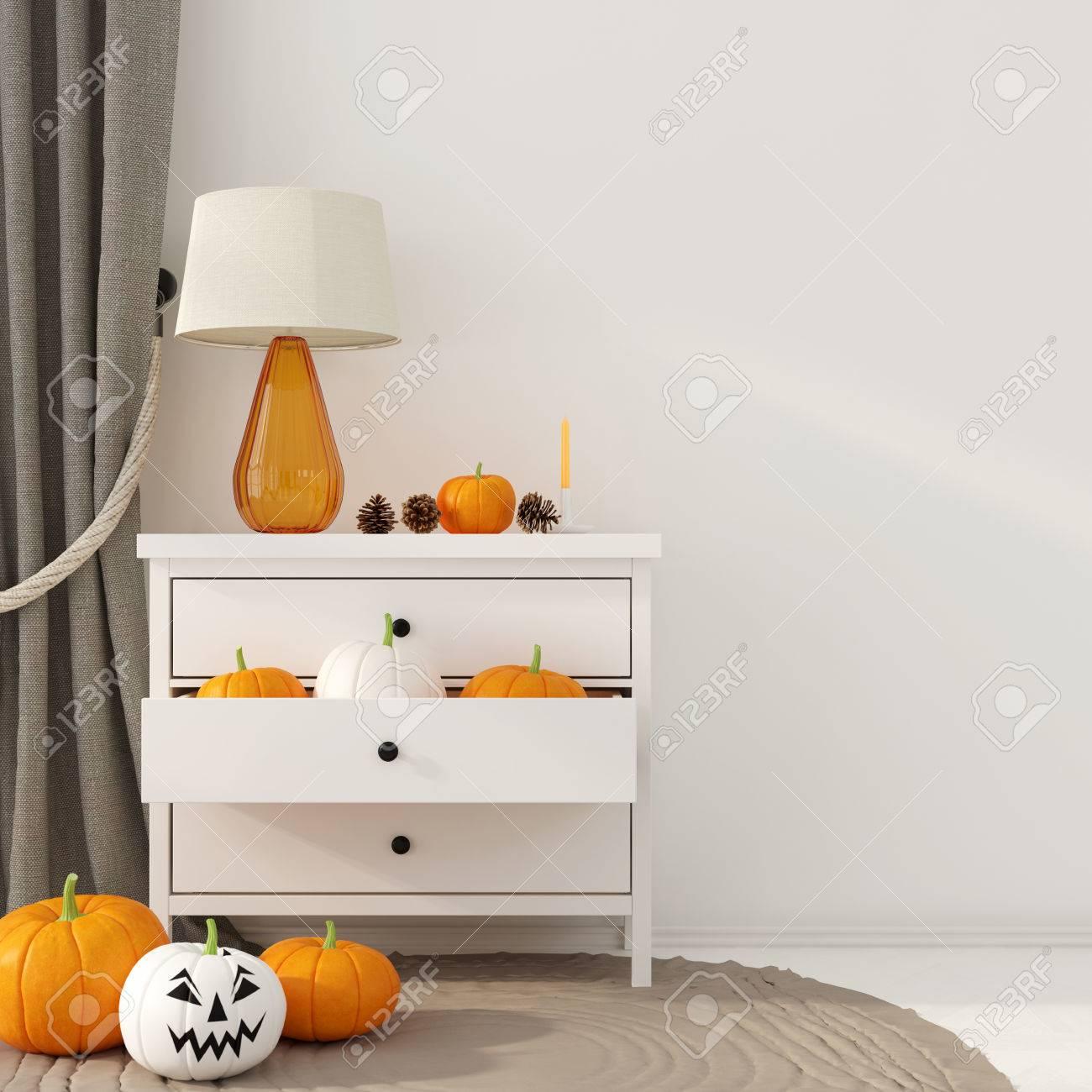 Innendekoration Fur Halloween Kleine Weisse Kommode Mit Einem