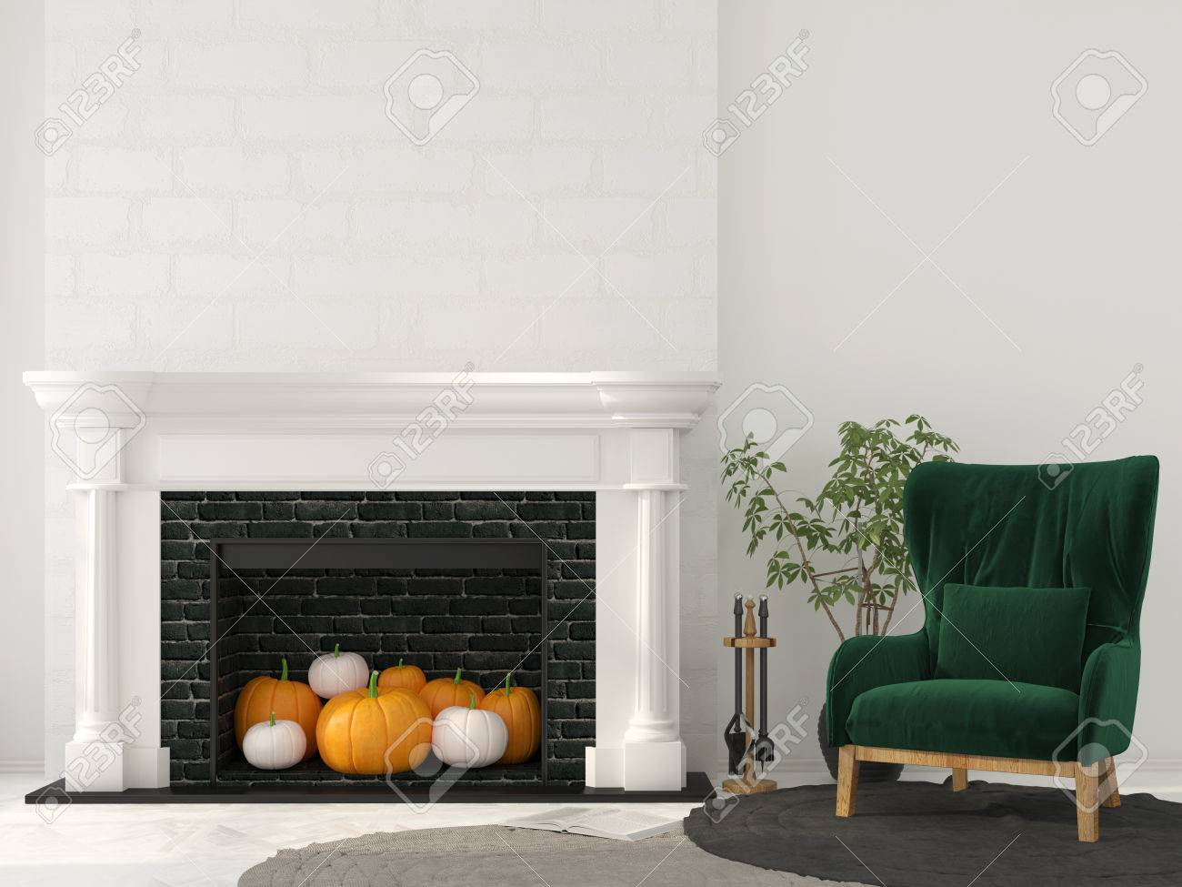 Interior Decoration For Halloween. Classic Fireplace With Pumpkins ...