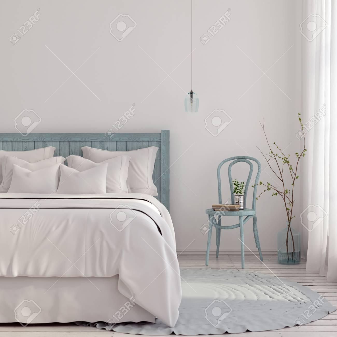 Illustrazione 3D. Camera da letto in tonalità blu e beige chiaro