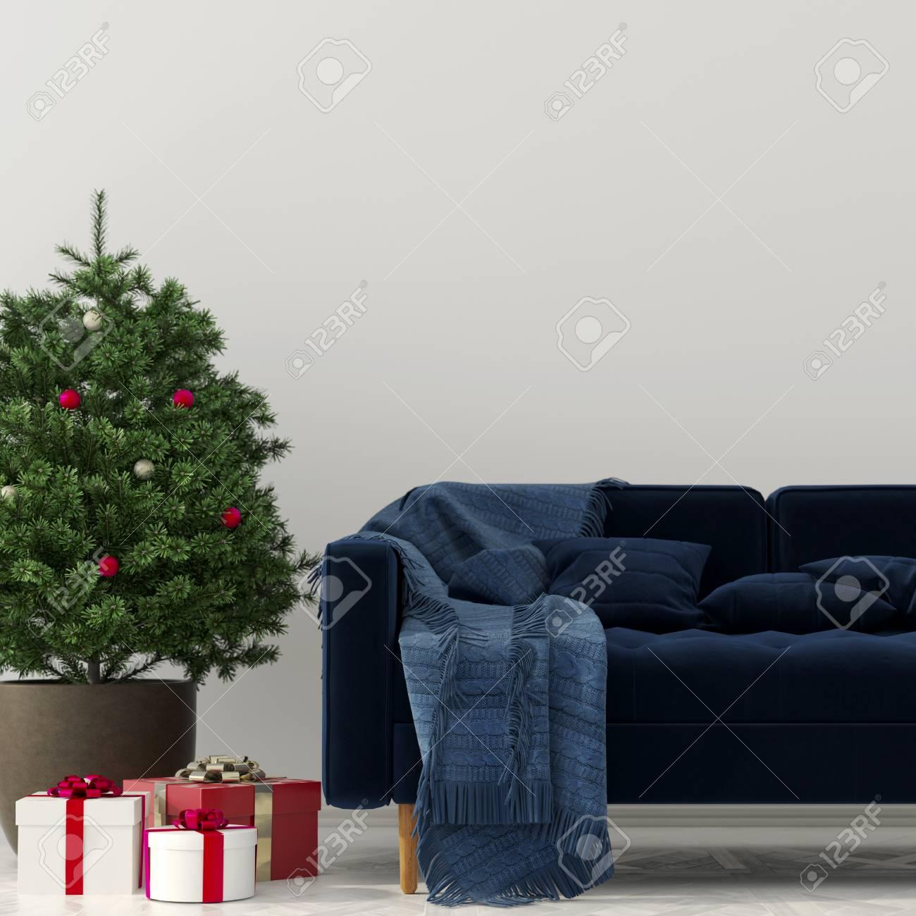 Illustration 3D Intérieur de Noël du salon avec le sapin de Noël, des  cadeaux et un canapé bleu