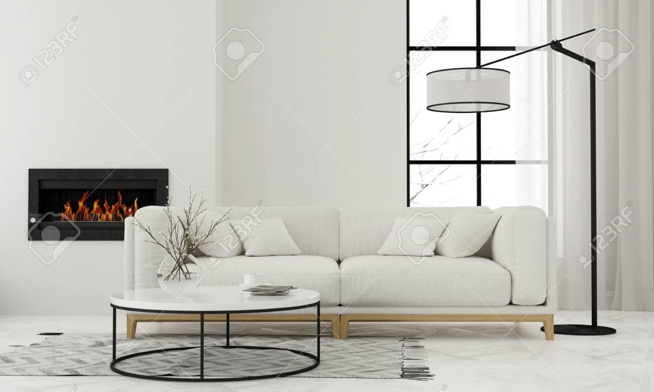 Illustration 3D. Salon moderne blanc avec cheminée minimaliste