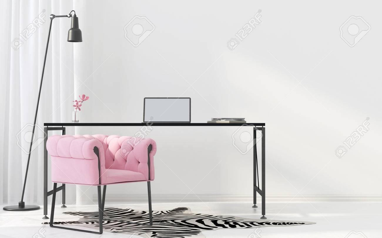 Illustrazione 3D Interno dell'armadio in stile Art Déco con poltrona rosa