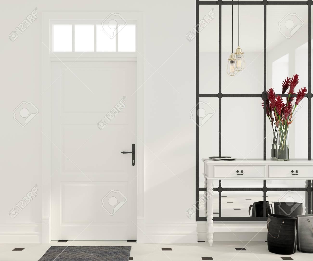 Grand Miroir D Entrée illustration 3d. intérieur de hall d'entrée blanc avec un grand miroir,  mobilier vintage et pendentif en or