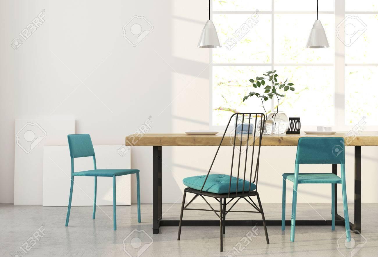 Ilustración 3D. Moderno Comedor Minimalista Con Sillas Azules. Fotos ...