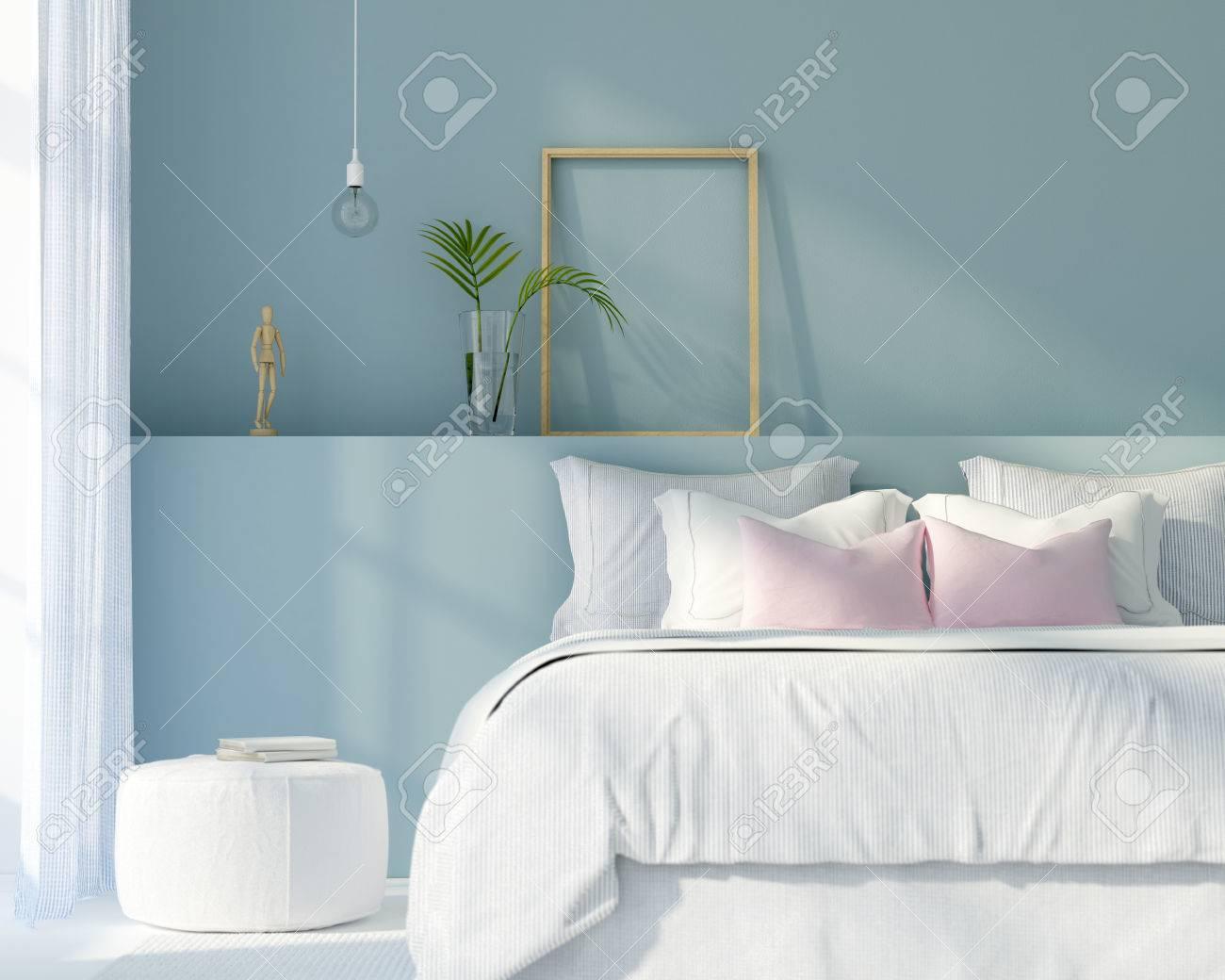 Illustration 3D Intérieur d\'une chambre moderne de couleur blanche et bleue