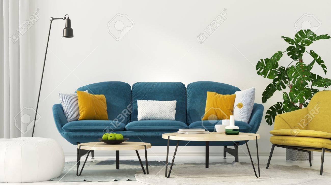 Illustration 3d Interieur Colore Du Salon Avec Un Canape Bleu Et Un Fauteuil Jaune
