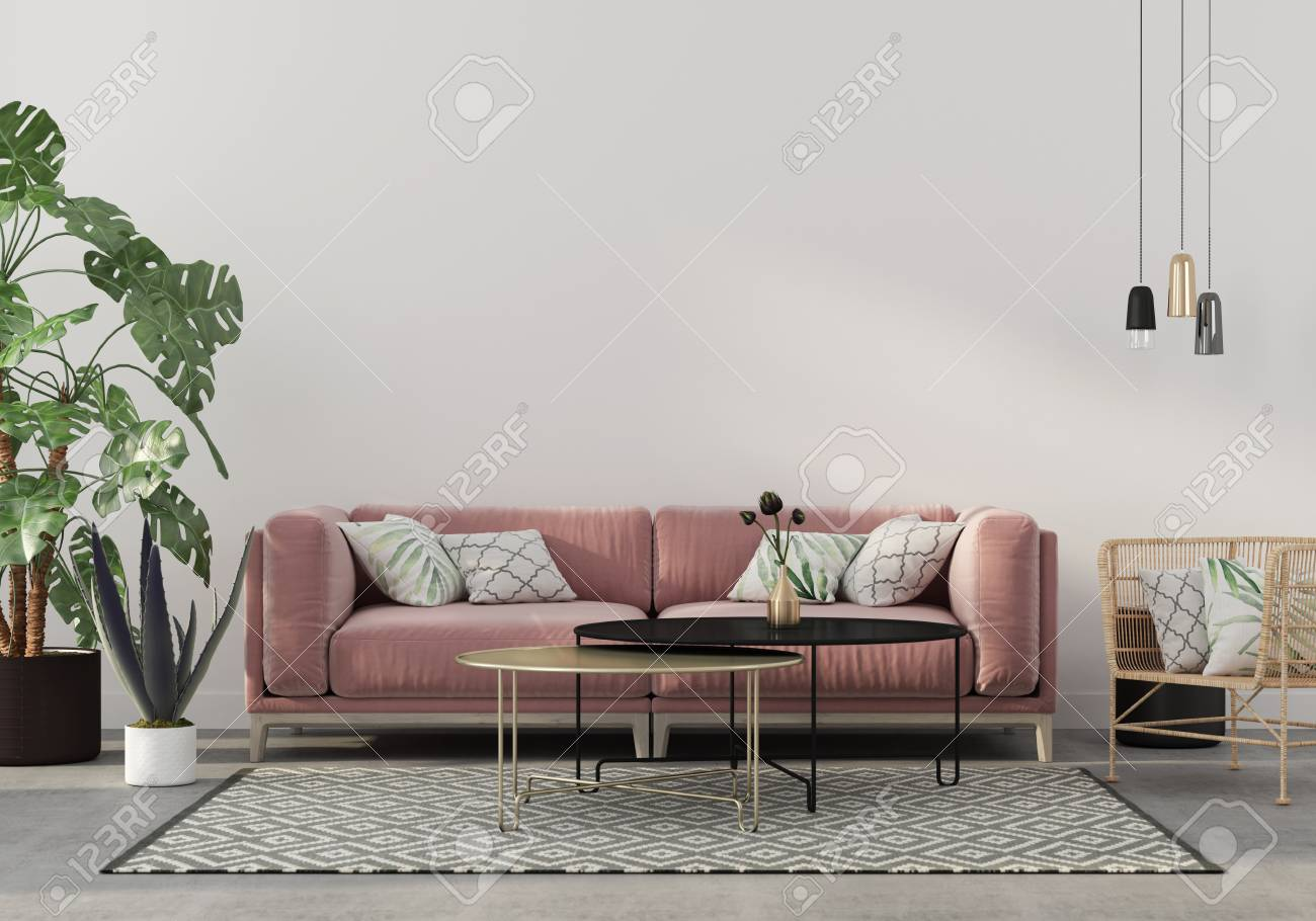 Stylish Living Room Interior In Pink With A Concrete Floor Velvet