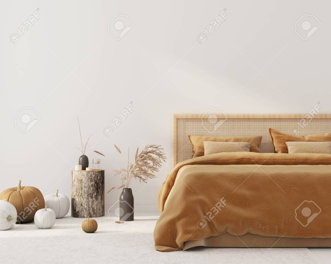 Bedroom Interior With King Size Bed With Autumn Colored Bedding Stock Photo Picture And Royalty Free Image Image 131855808