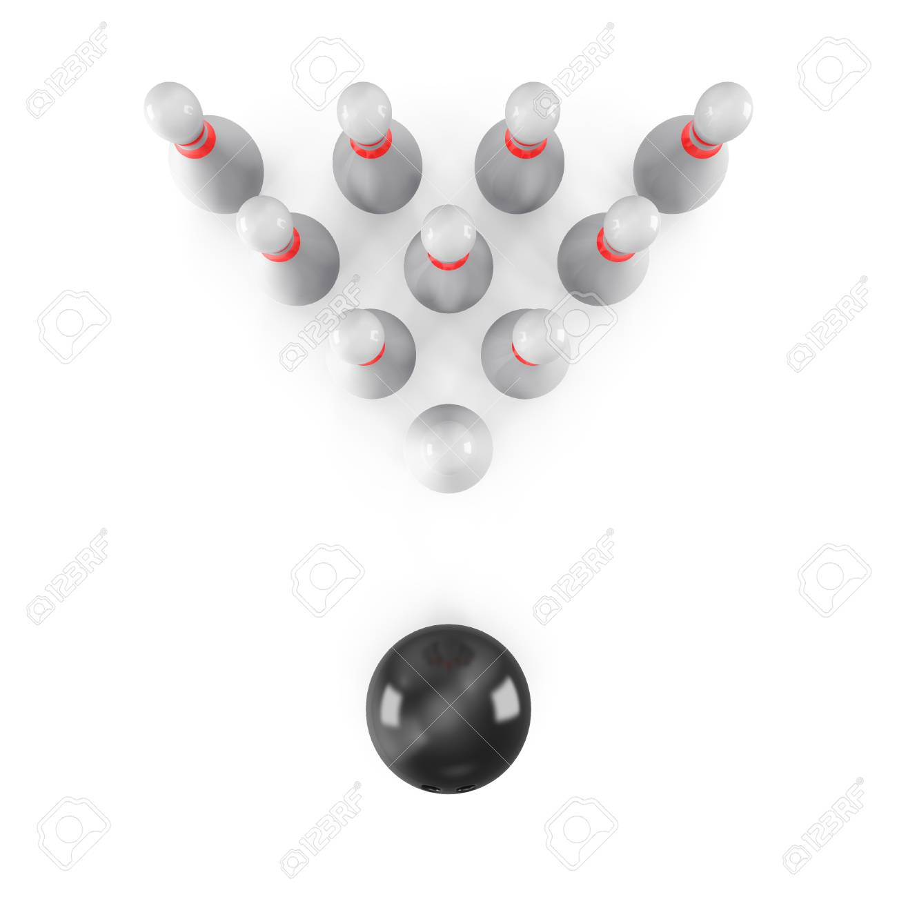 Bowling Ball with pins isolated on white background. With shadow