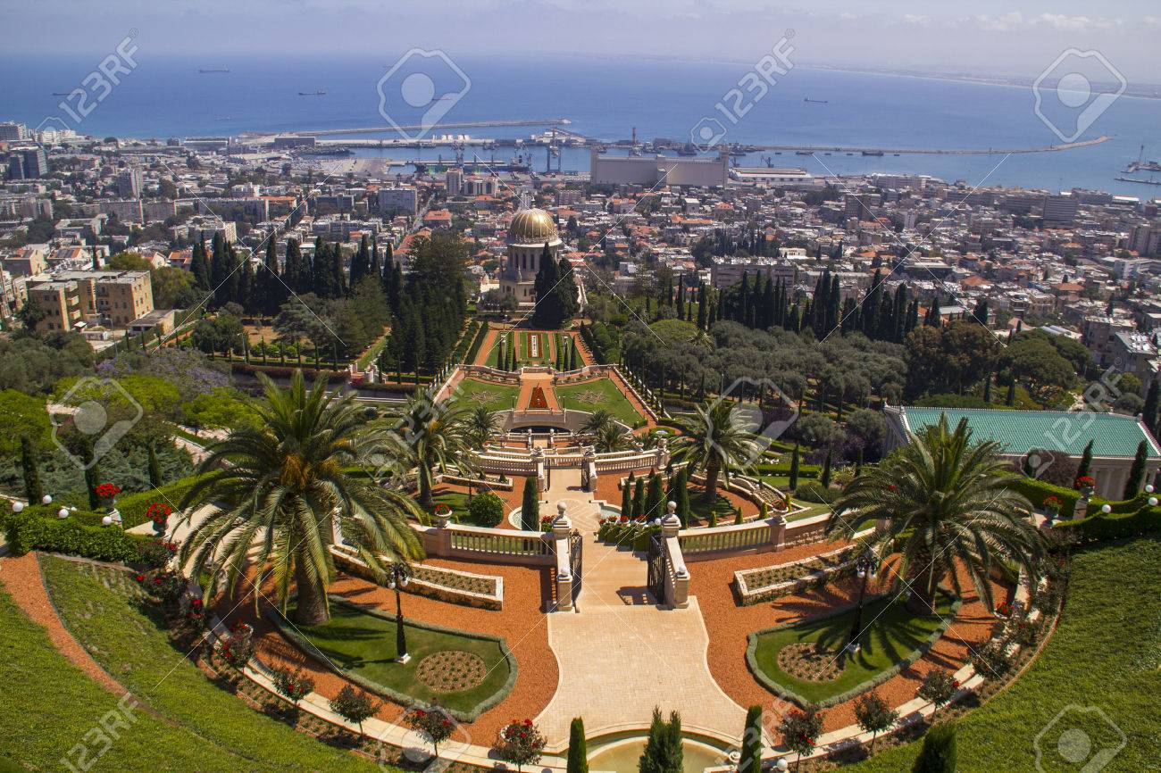 View To Bahai Gardens And Temple In Haifa North Israel Stock Photo ...
