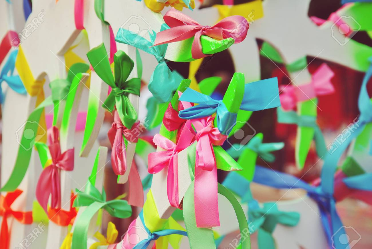 Colorful Prayer Ribbons Tied To The Wish Tree, Different Color ...