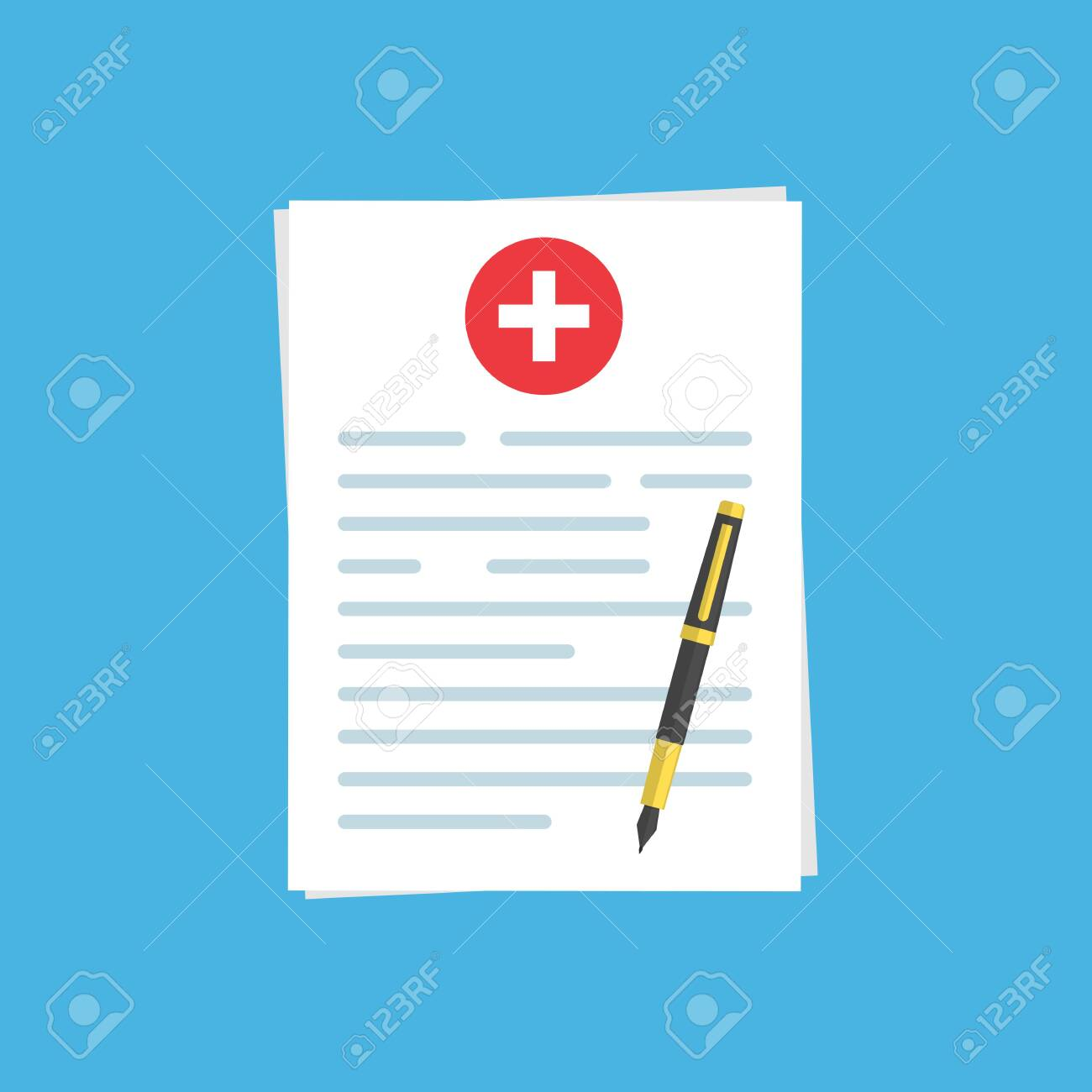 medical insurance document or contract and ballpoint pen. Medical report.stock vector illustration isolated on blue background. - 138421804