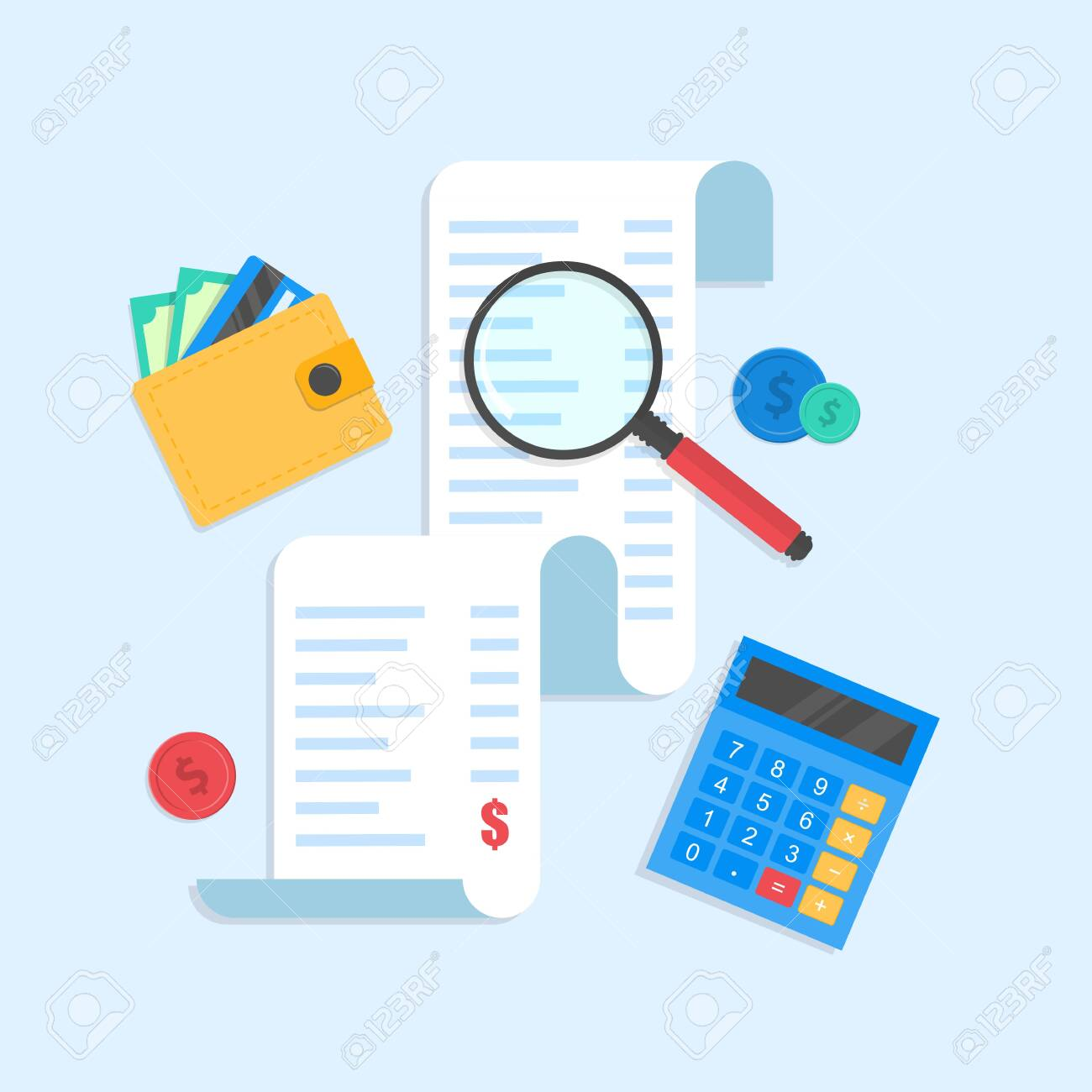 receipt or paper check. magnifying glass and wallet,calculator . Concepts for taxes, finance, accounting, business, accounting. - 144291424