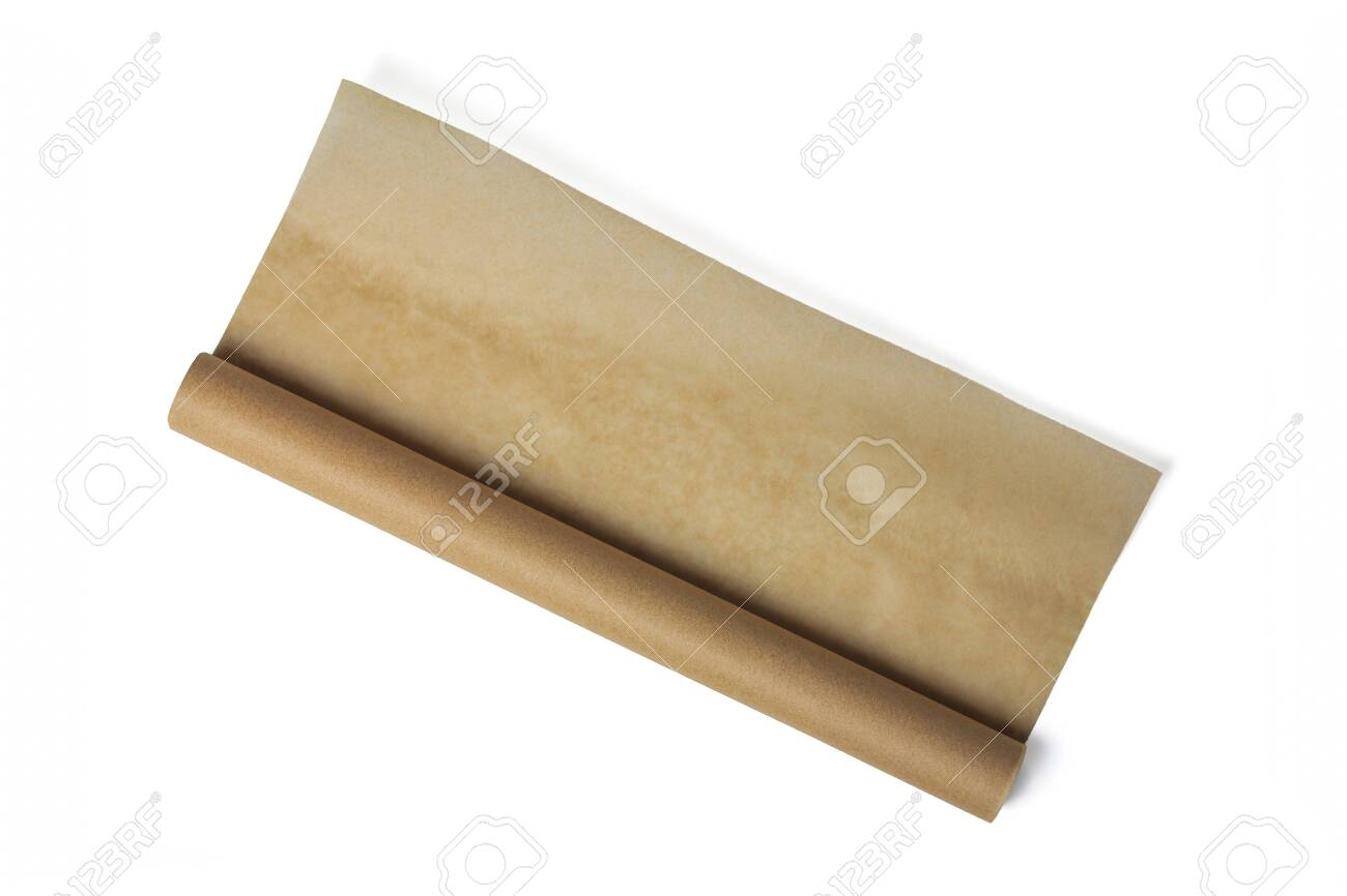 Baking paper roll isolated on white background. Brown parchment in a roll. Baking paper roll - 136483385