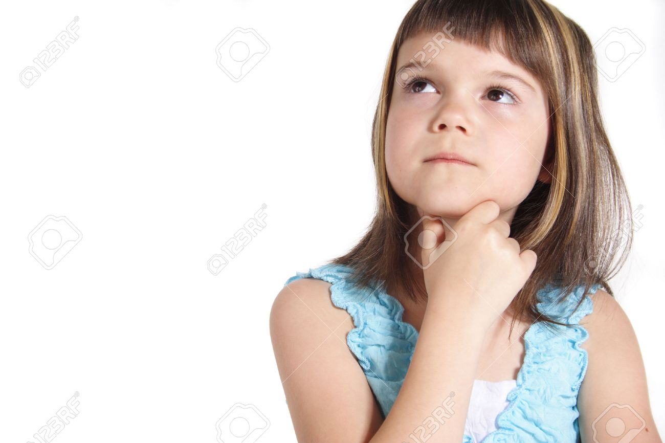 a young girl thinking about something all isolated on white stock