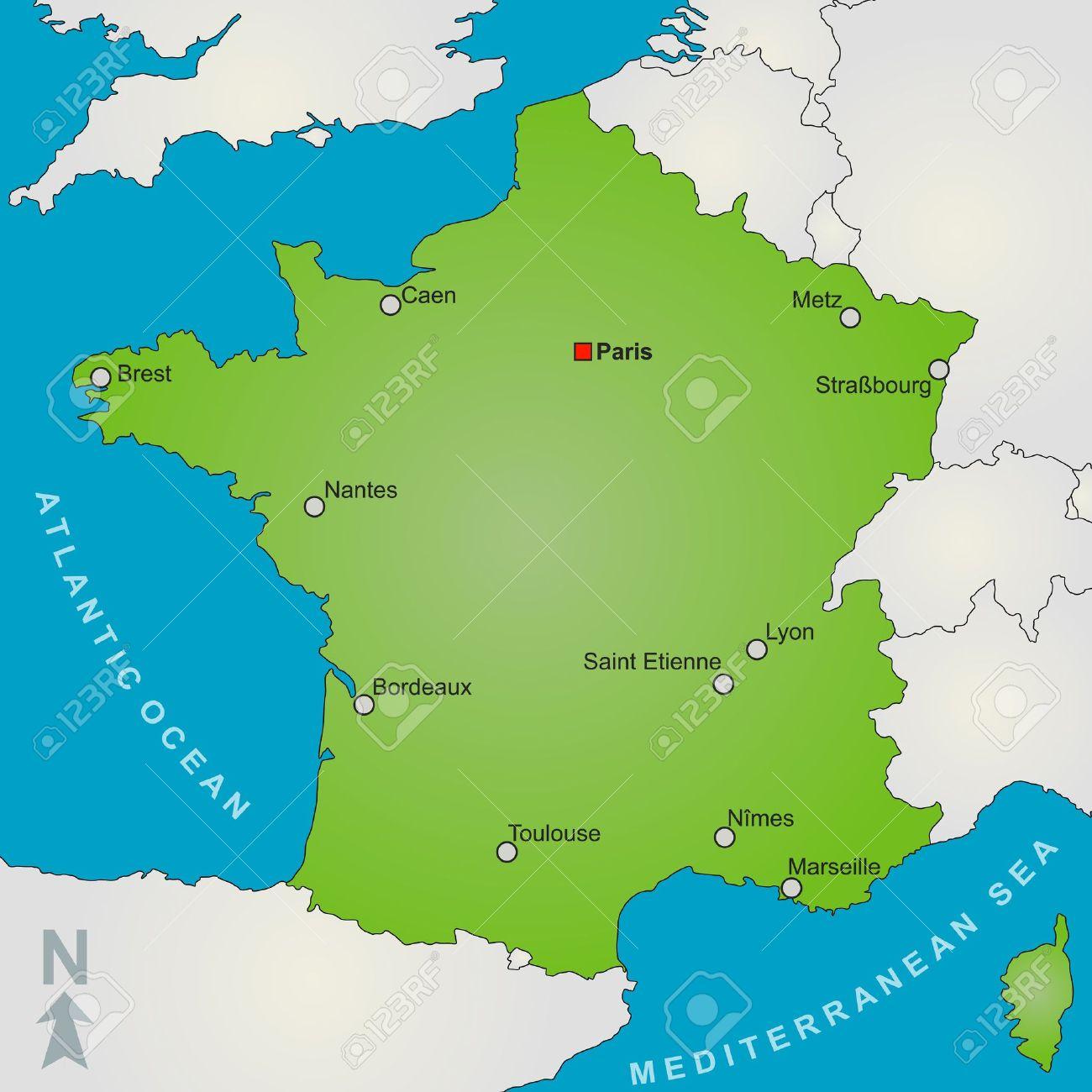 Mapa De Francia Ciudades.Un Mapa Estilizado De Francia Mostrando Varias Grandes Ciudades Y Paises Vecinos