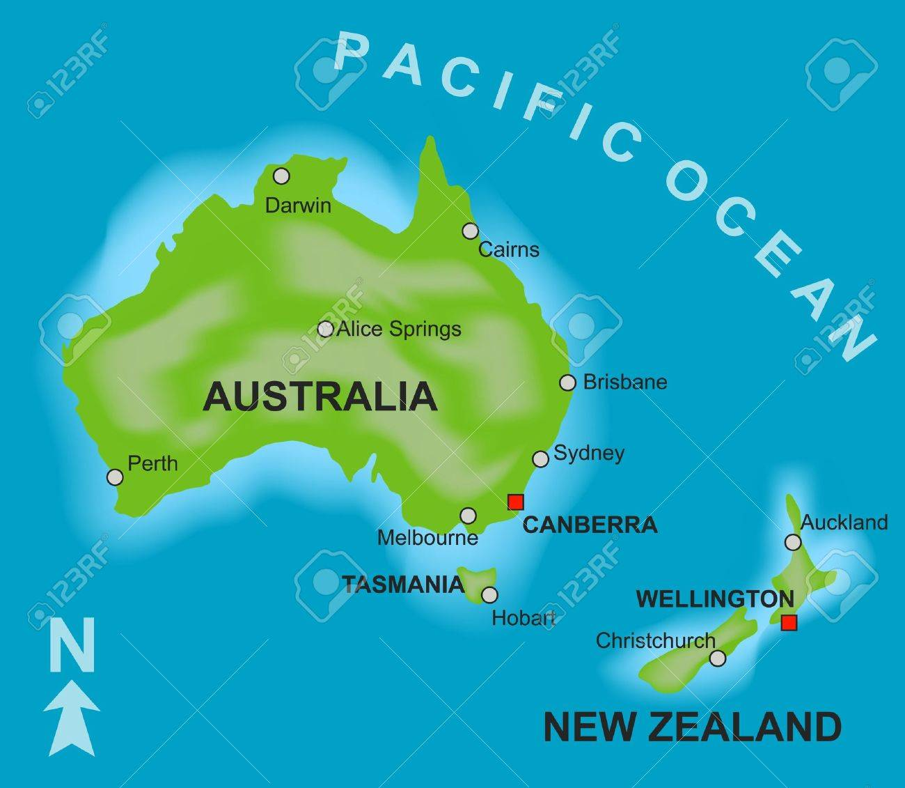 a stylized map showing the countries of australia and new zealand stock photo 6293507