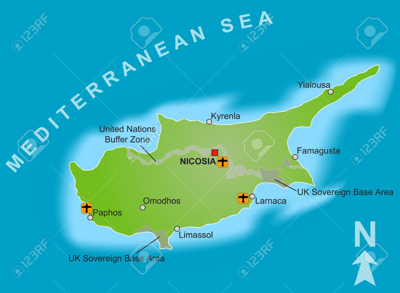 A Stylized Map Of Cyprus Showing Different Cities Airports - Cyprus map with airports