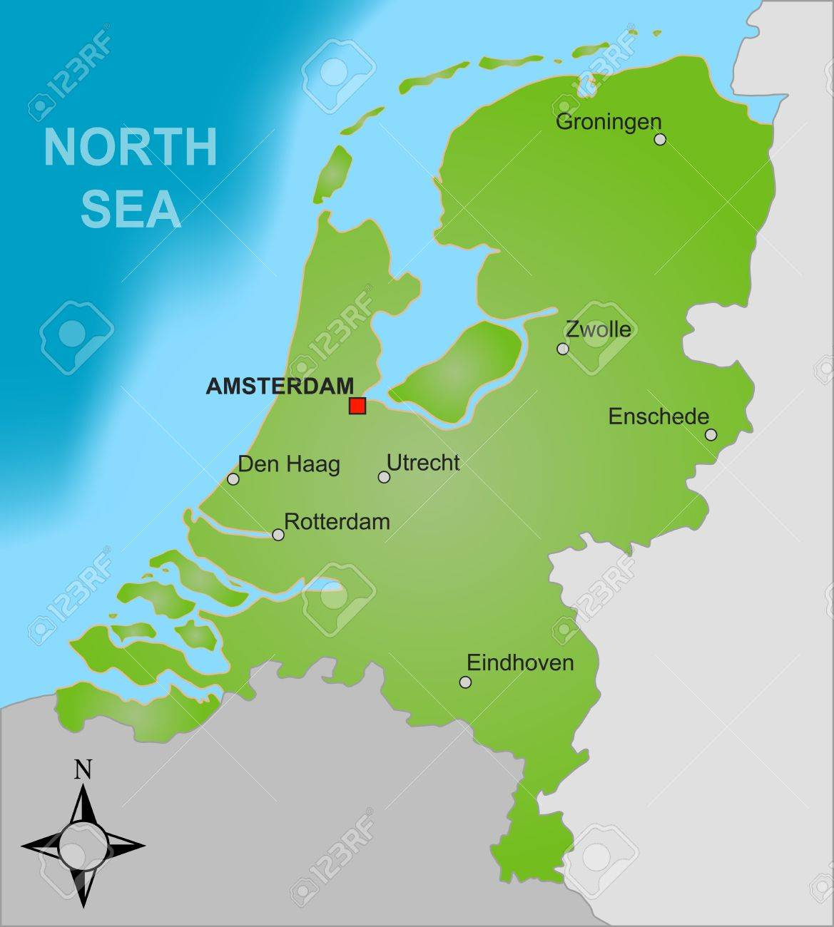 A Stylized Map Of The Netherlands Showing Different Big Cities ...