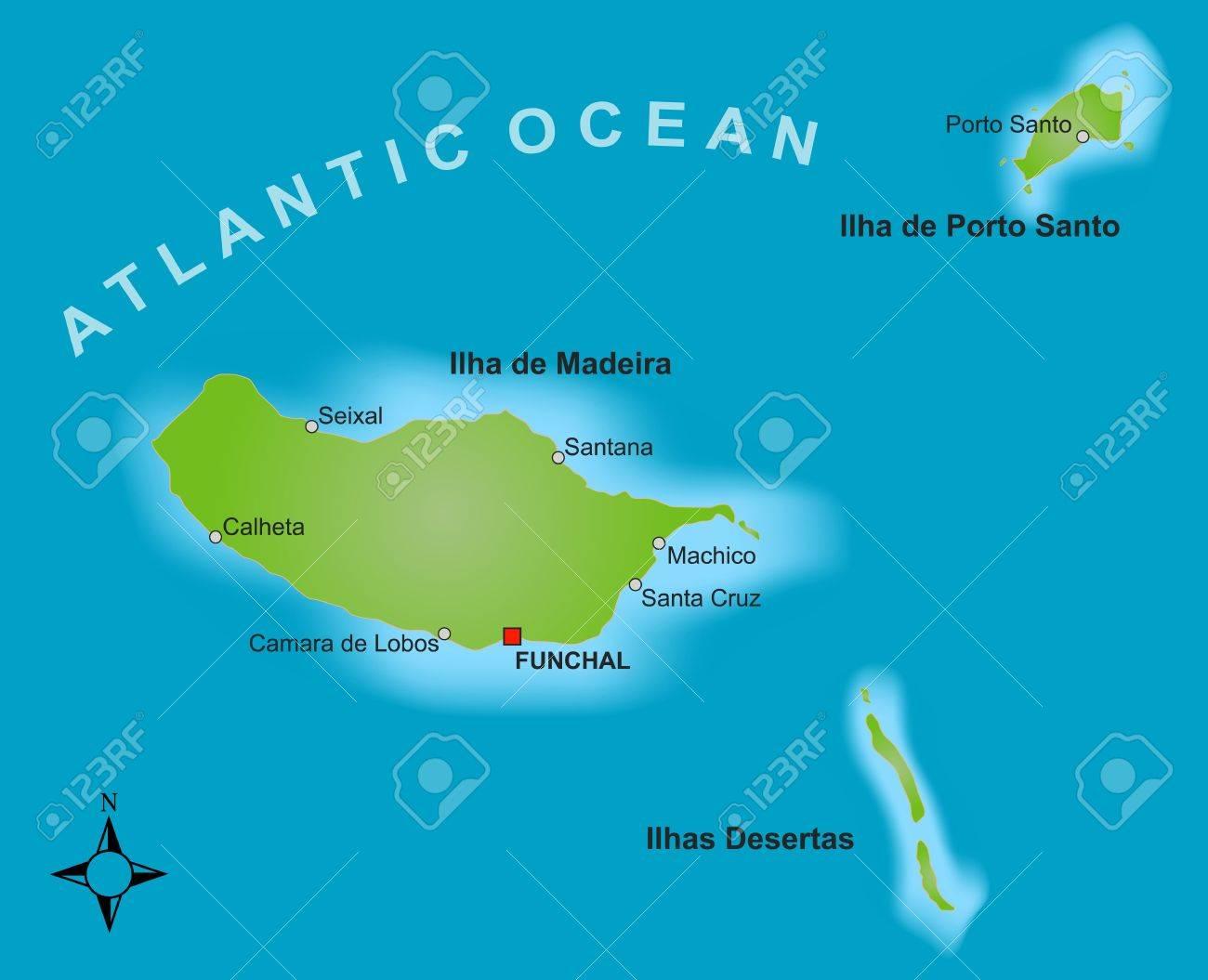 Madeira Cartina.Una Mappa Stilizzata Dell Isola Di Madeira Che Mostra Citta Diverse