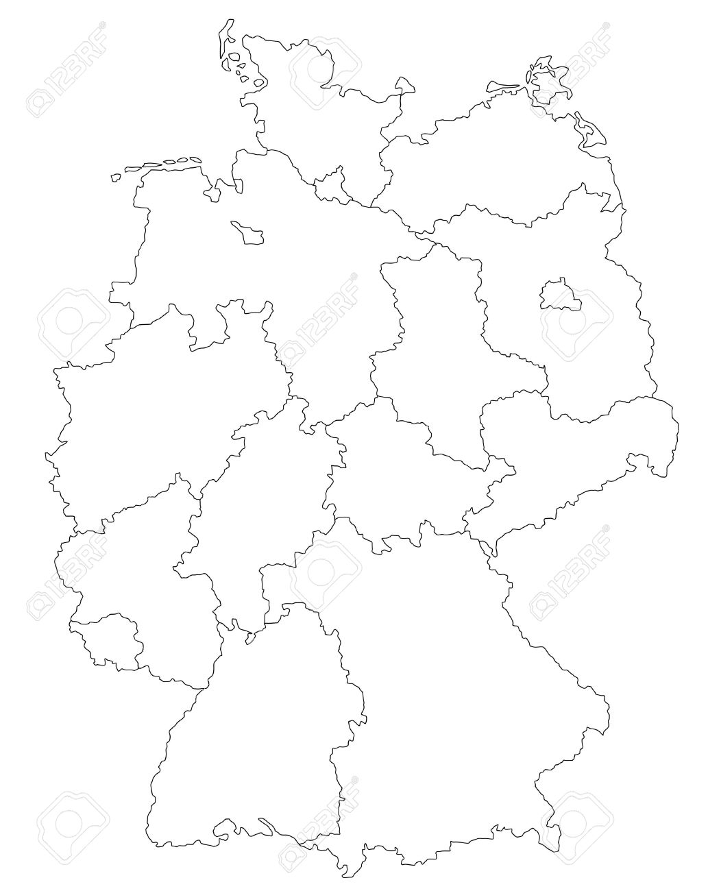 Stylized Map Of Germany Photo Picture And Royalty Free – Map of German Regions