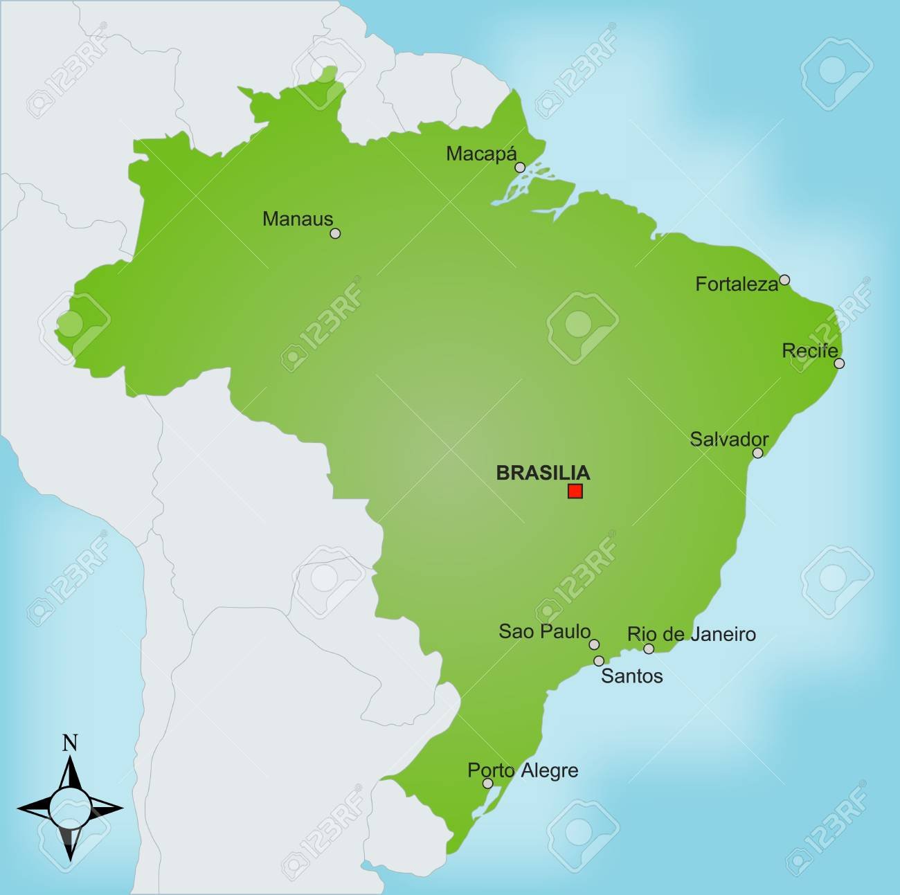 A stylized map of Brazil showing different cities and nearby..