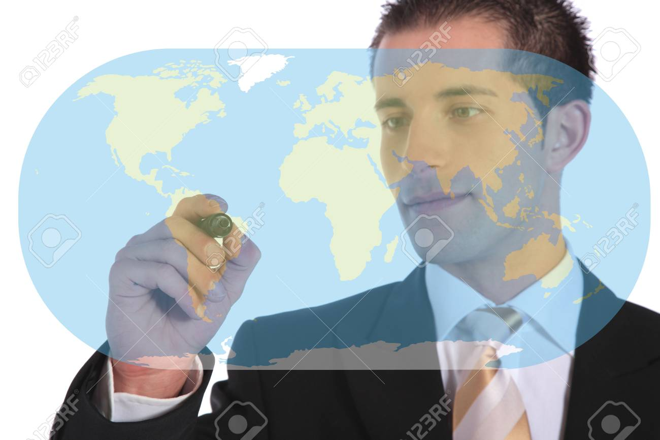 A handsome businessman presenting concepts of market expansion. All on white background. Stock Photo - 6813364