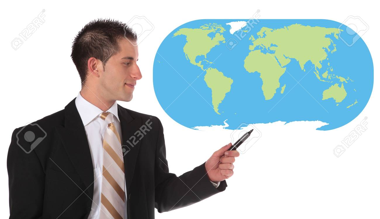 A handsome businessman presenting concepts of market expansion. All on white background. Stock Photo - 6813404