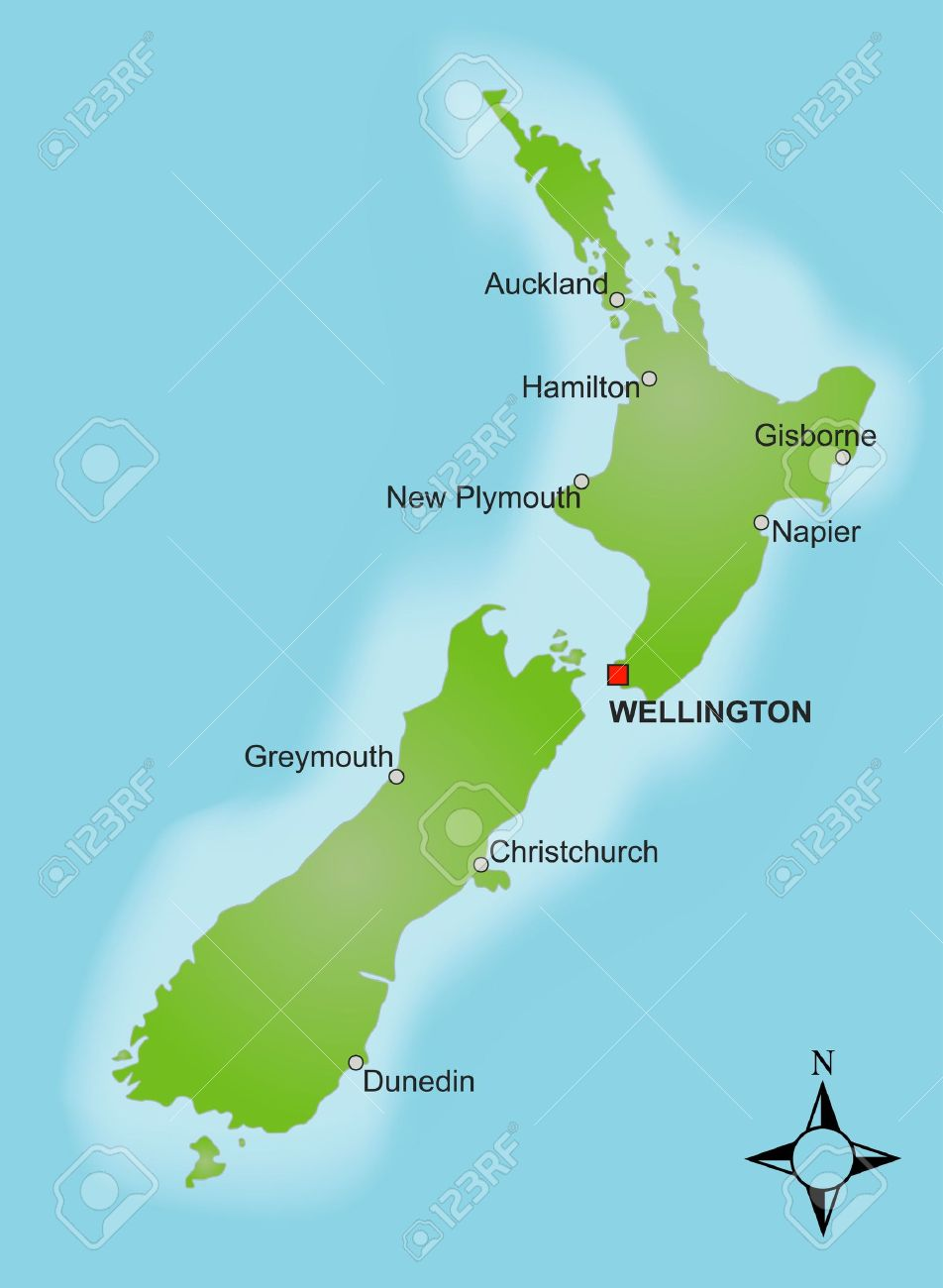 A Stylized Map Of New Zealand Showing Different Cities. Stock Photo ...
