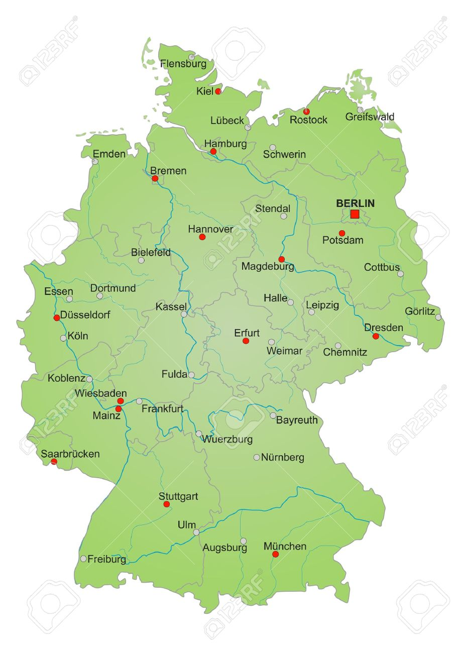 detailled map of germany showing cities rivers and all states cities in german language