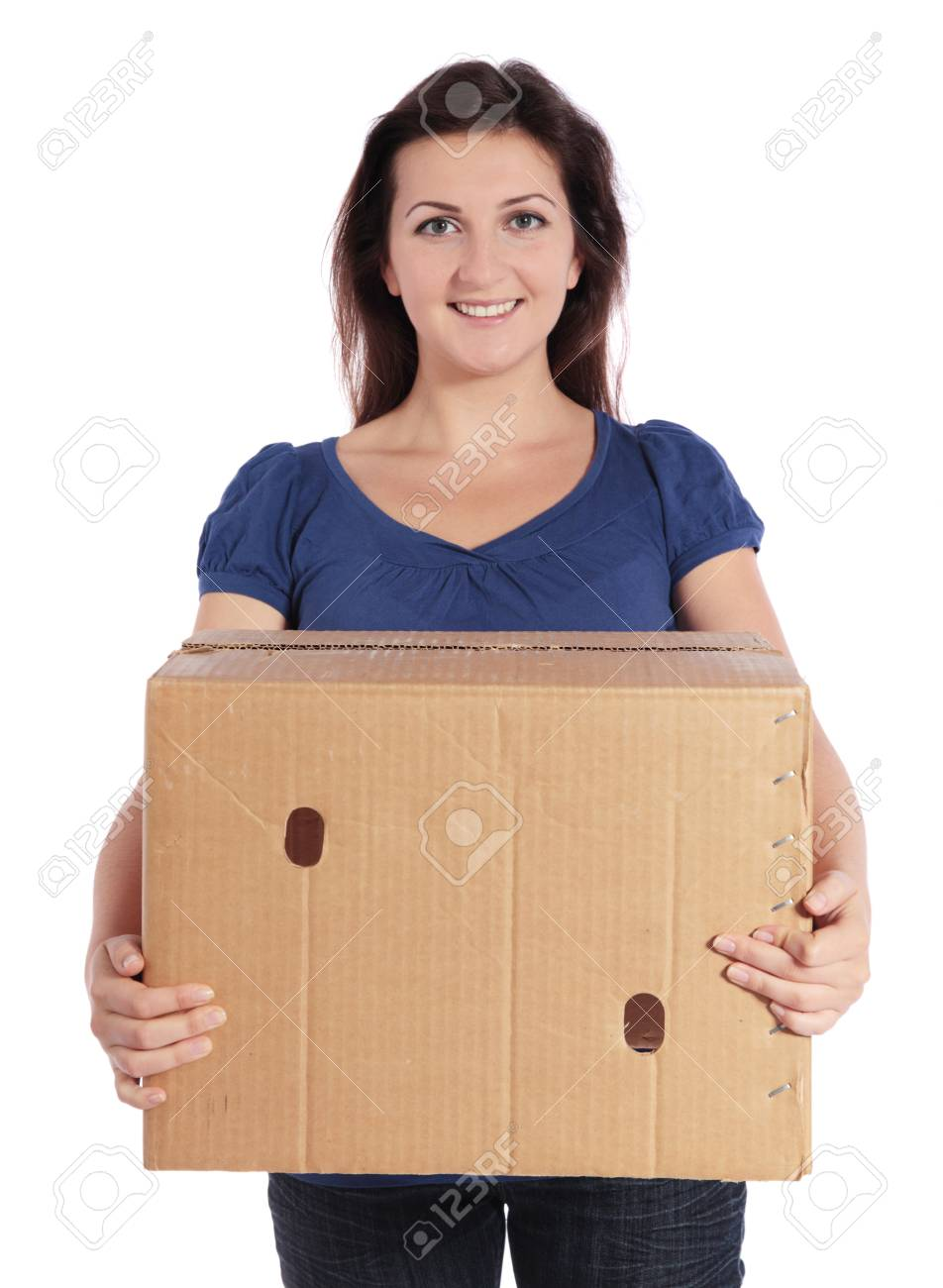 Attractive young woman carrying a moving box Stock Photo - 7864922
