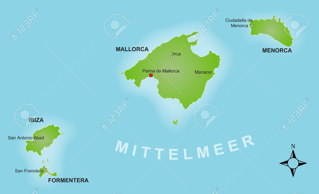 A Stylized Map Of The Balearics Showing The Different Islands ...