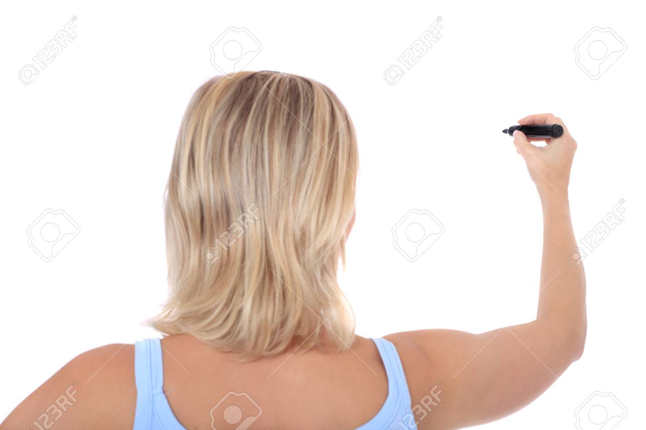 Back view of an attractive young scandinavian woman using black marker. All on white background. Stock Photo - 8514804