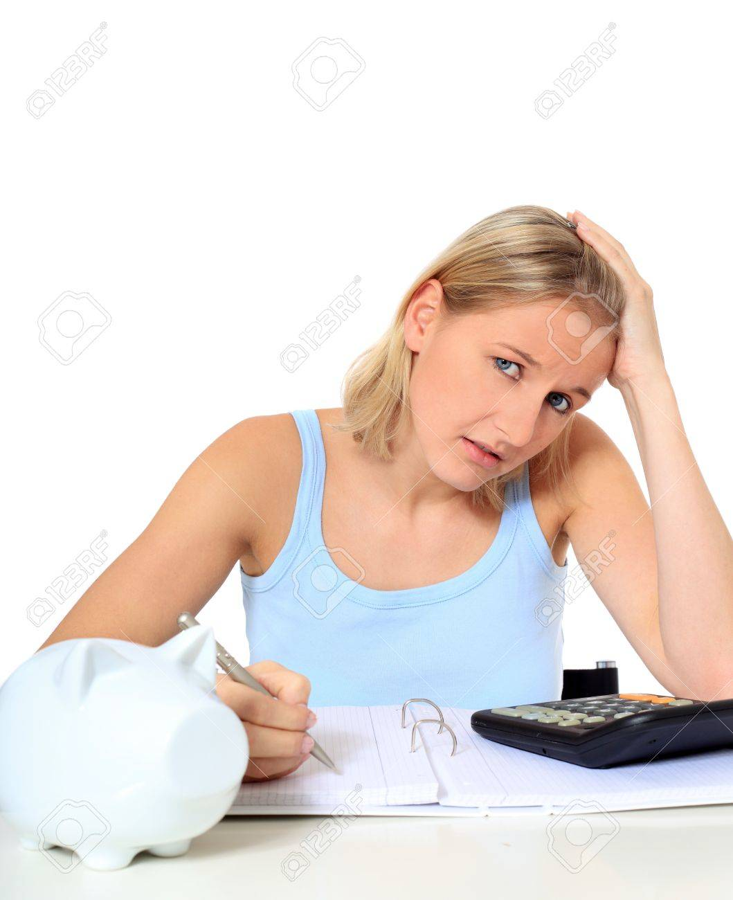 Attractive young scandinavian woman being shocked of high tuition fees. All on white background. Stock Photo - 8514849
