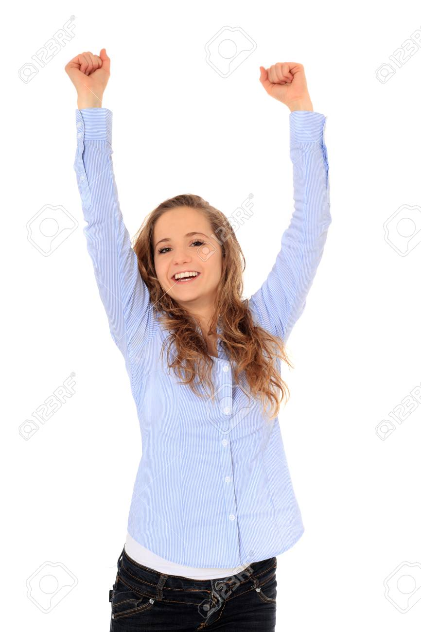 Cheering young girl. All on white background Stock Photo - 8529863