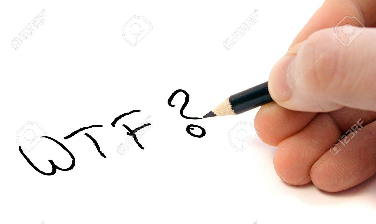 A Persons Hand Writing The Short Form For What The F... Stock ...