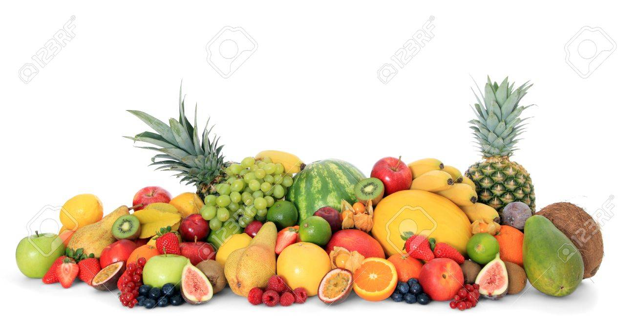 Pile of various ripe fruits on white background Stock Photo - 9472966