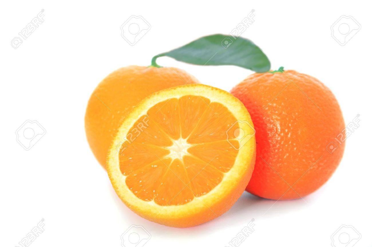 Ripe oranges on white background Stock Photo - 9472848