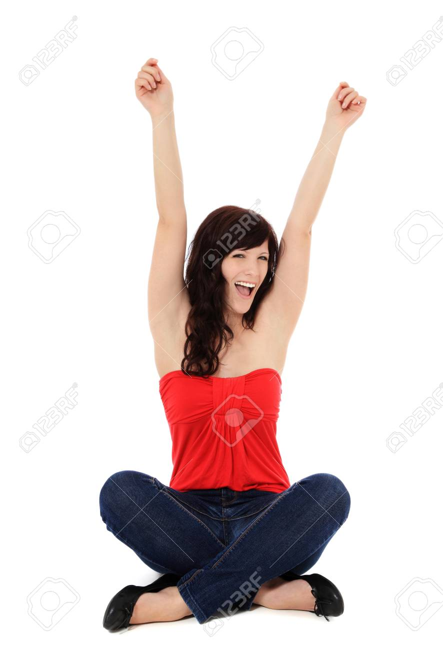 Cheering young woman. All on white background. Stock Photo - 10057367
