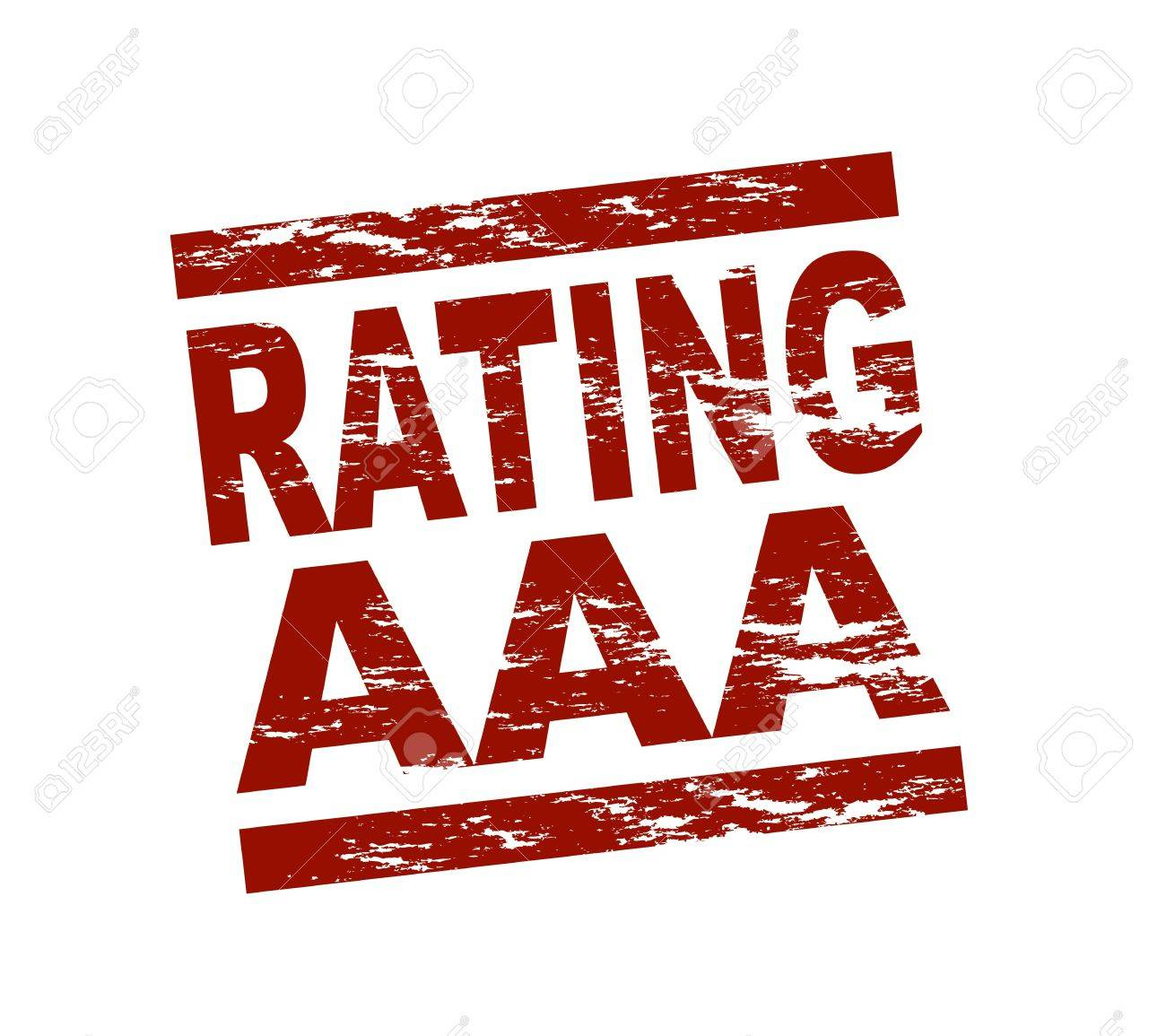 Stylized red stamp showing the term Rating AAA. All on white background. Stock Photo - 12052540