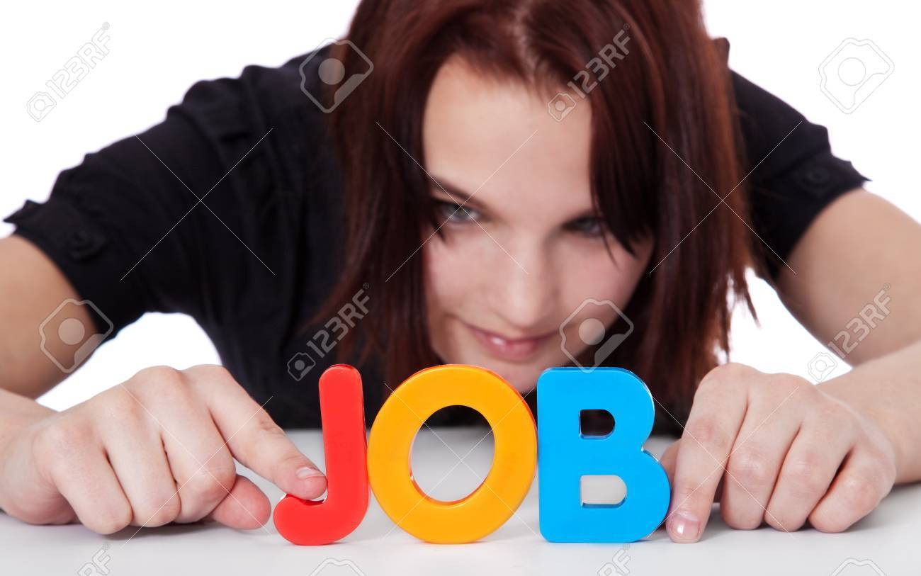 young w building the term job out of colorful letters stock stock photo young w building the term job out of colorful letters