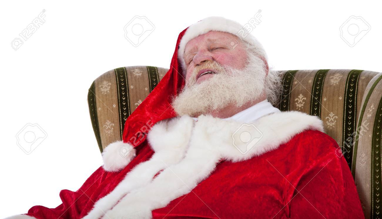 Santa Claus In Authentic Look Sleeping In Retro Wing Chair All On White  Background Stock Photo
