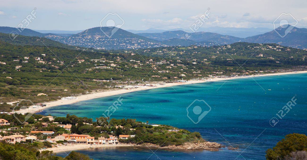 View over Pampelonne beach at French Riviera - 14422287