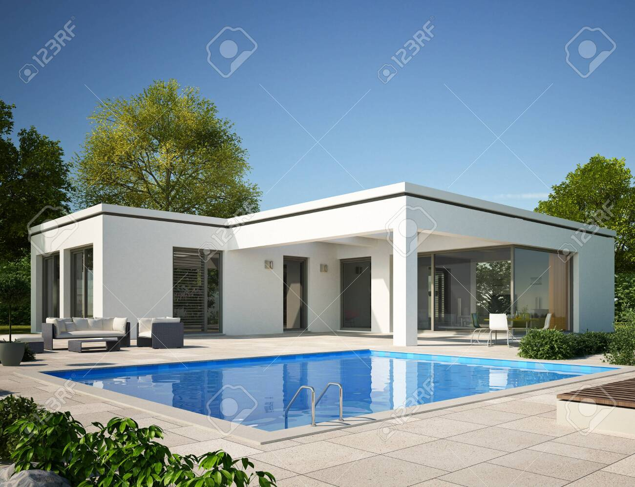 Modern bungalow with pool - 131856333