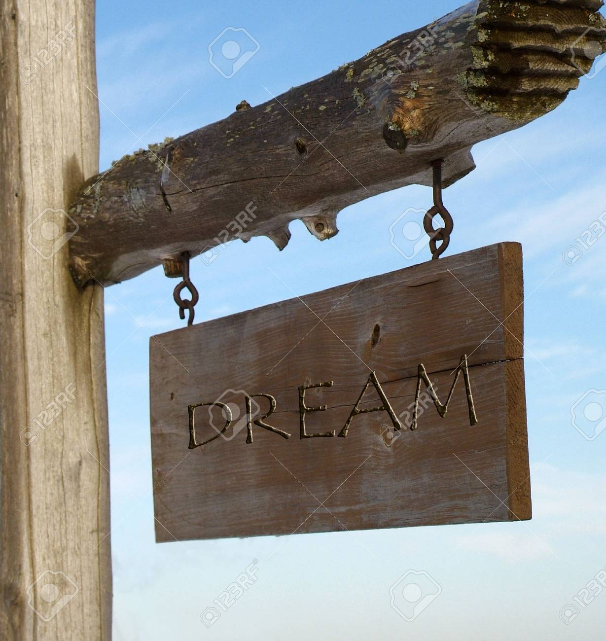 wooden sign with the word dream inscribed on it. Stock Photo - 2344548