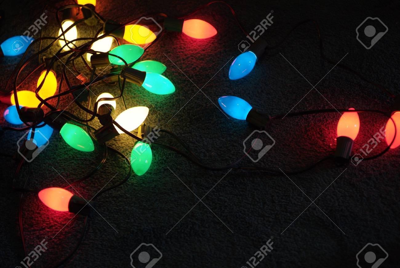 Christmas Light Bulbs.Colorful Glowing Christmas Light Bulbs