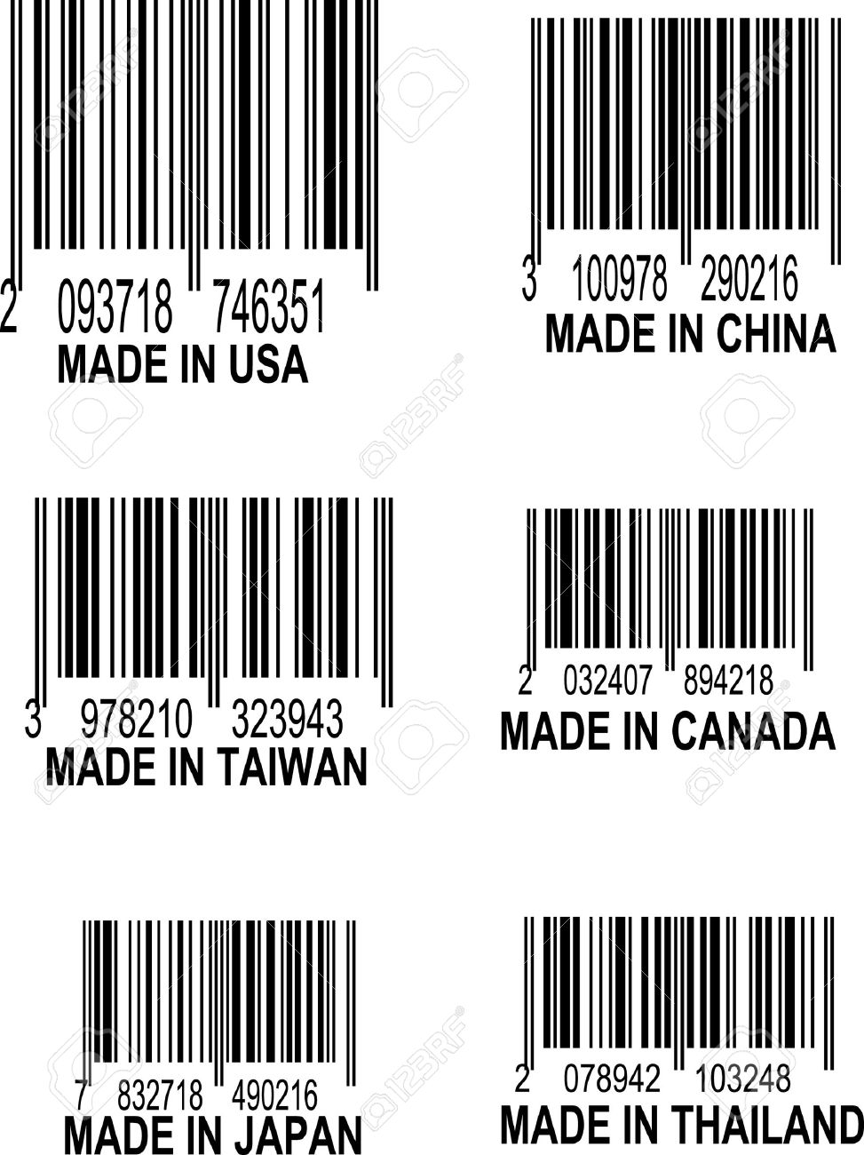 Set of UPC Bar codes, all data is fictional,  each barcode indicates the country location of origin for the following places: USA, China, Taiwan, Canada, Thailand, Taiwan, Thailand, and Japan Stock Vector - 5386241