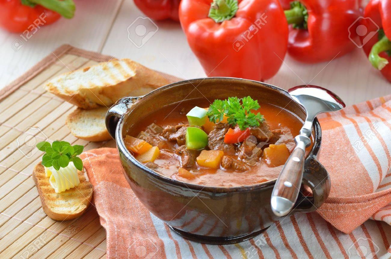 Hot goulash soup Stock Photo - 11357437