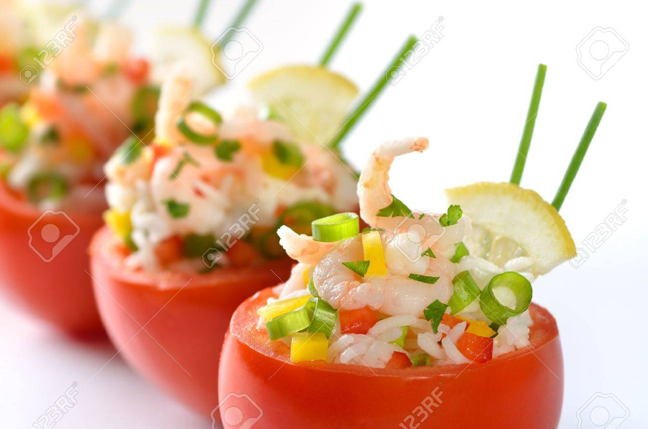 Stuffed tomatoes with shrimps and rice - 14408748