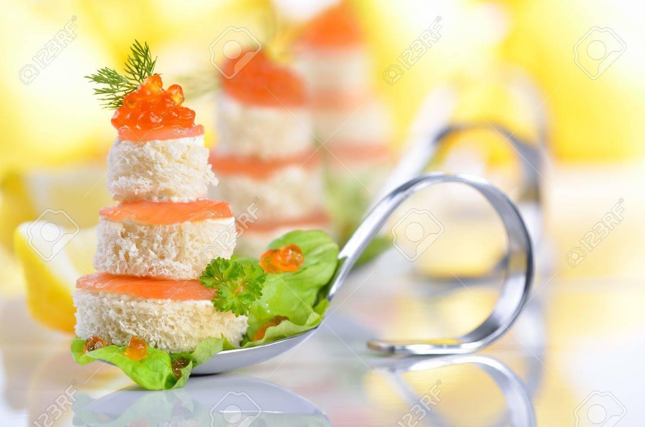 Amuse-gueules de poisson au saumon et caviar Banque d'images - 17819650